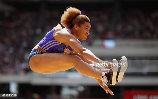 Jazmin Sawyers of Great Britain competes in the Womens Long Jump during day two of the Sainsbury's Anniversary Games at The Stadium Queen Elizabeth...