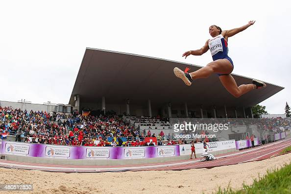 Jazmin Sawyers of Great Britain competes in the Women's Long Jump on day four of the European Athletics U23 Championships at Kadriorg Stadium on July...