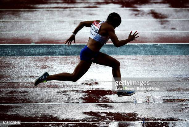 Jazmin Sawyers of Great Britain competes in the Women's Long Jump qualification during day six of the 16th IAAF World Athletics Championships London...