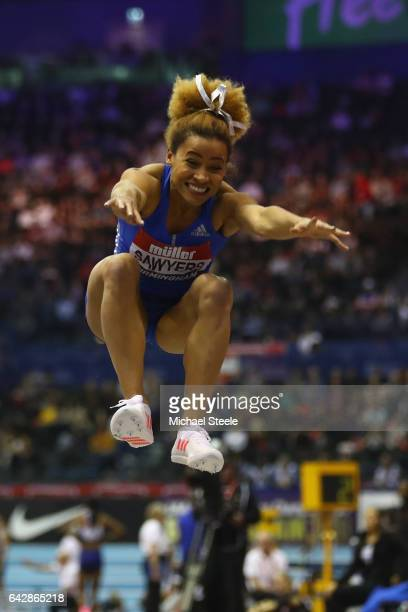 Jazmin Sawyers of Great Britain competes in the women's long jump during the Muller Indoor Grand Prix at the Barclaycard Arena on February 18 2017 in...