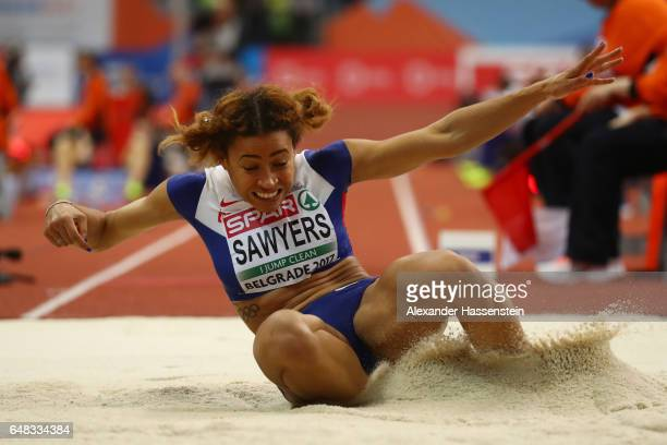 Jazmin Sawyers of Great Britain competes in the Women's Triple Jump final on day three of the 2017 European Athletics Indoor Championships at the...
