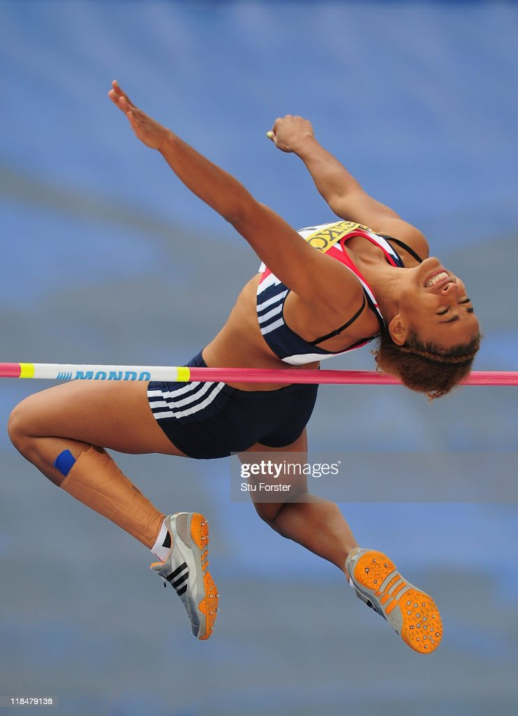 Jazmin Sawyers of Great Britain in action in the Girls Heptathlon high jump competition during day three of the IAAF World Youth Championships at Lille Metropole stadium on July 8, 2011 in Lille, France.