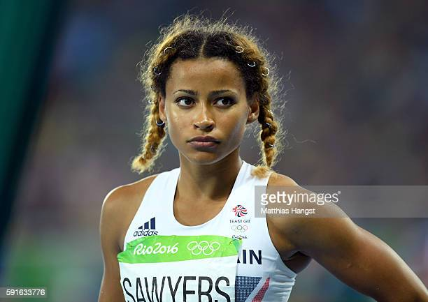 Jazmin Sawyers of Great Britain looks on during the Women's Long Jump final on Day 12 of the Rio 2016 Olympic Games at the Olympic Stadium on August...