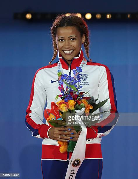Jazmin Sawyers of Great Britain receives her silver medal from the final of the womens long jump on day three of The 23rd European Athletics...