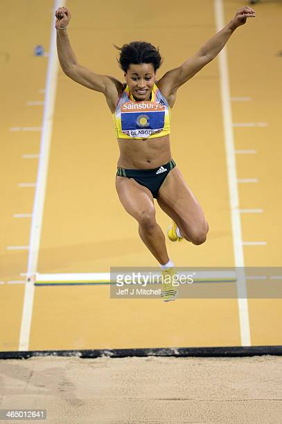 Jazmin Sawyers of the Commonwealth competes in the womens long jump during the British Athletics International Match at the Emirates Arena on January...