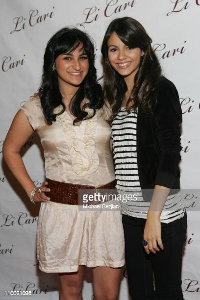 Jazmin Whitley and Victoria Justice during Li Cari Spring 2007 Fashion Show at Dimani in West Hollywood California United States