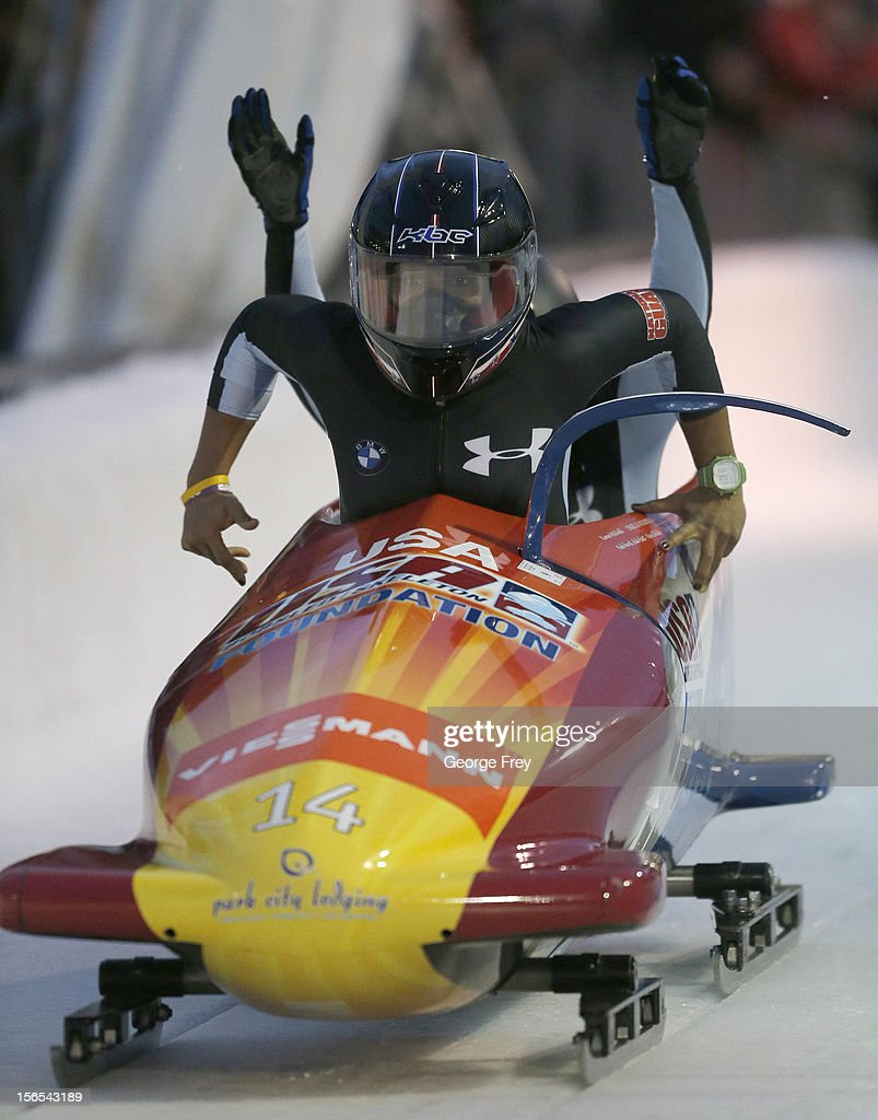 Jazmine Fenlator (F) and Emily Azevedo of the U.S. finish in fifth place in the FIBT women's bobsled world cup, on November 16, 2012 at Utah Olympic Park in Park City, Utah.
