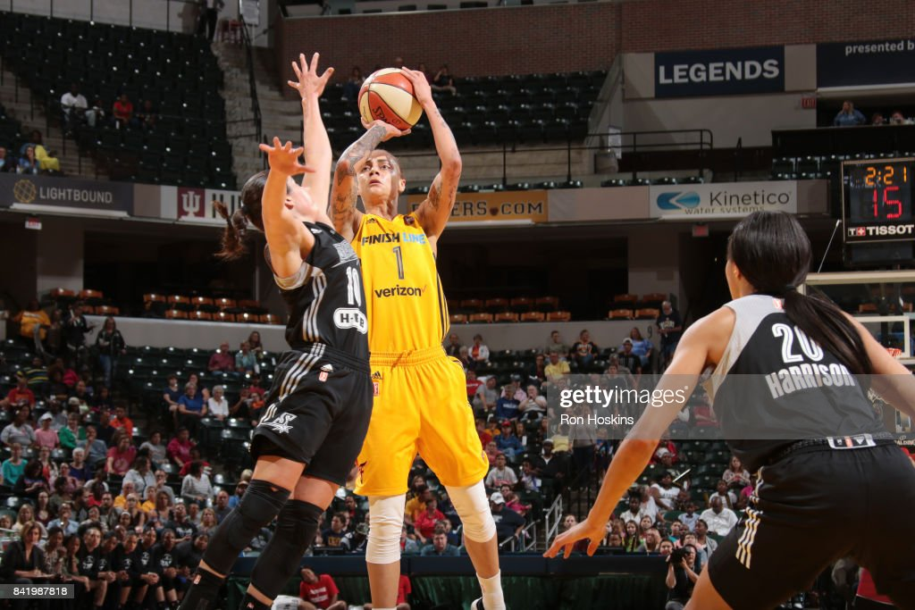 Jazmon Gwathmey #1 of the Indiana Fever shoots the ball against the San Antonio Stars on September 2, 2017 at Bankers Life Fieldhouse in Indianapolis, Indiana.