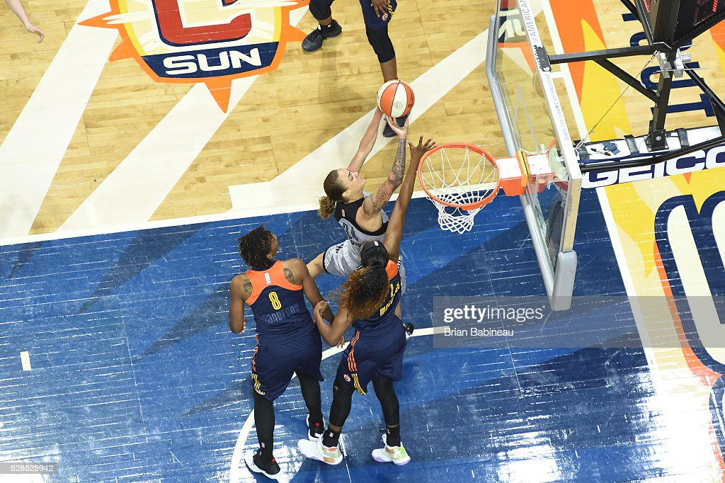 Jazmon Gwathmey #24 of the San Antonio Stars shoots a lay up against the Connecticut Sun in a WNBA preseason game on May 5, 2016 at the Mohegan Sun Arena in Uncasville, Connecticut.