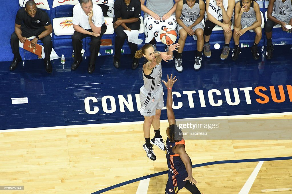 Jazmon Gwathmey #24 of the San Antonio Stars shoots the ball against the Connecticut Sun in a WNBA preseason game on May 5, 2016 at the Mohegan Sun Arena in Uncasville, Connecticut.