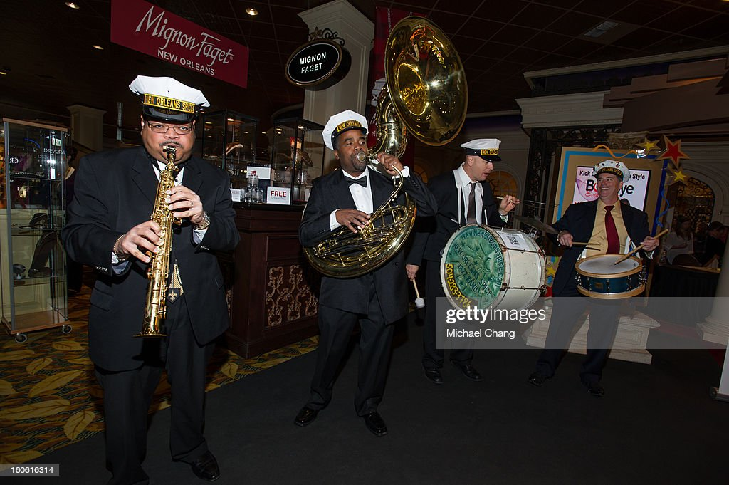 A jazz band plays during the Ultimate Super Bowl Tailgate Party hosted by Michael Strahan at Harrah's Casino on February 3, 2013 in New Orleans, Louisiana.