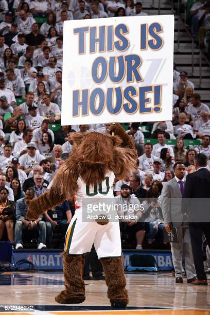 Jazz Bear mascot of the Utah Jazz gets the crowd into Game Four of the Western Conference Quarterfinals against the LA Clippers during the 2017 NBA...