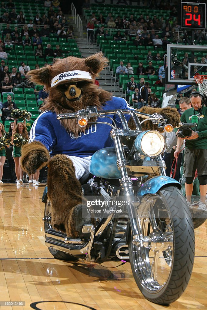 Jazz Bear, mascot of the Utah Jazz, rides out before the game against the Washington Wizards at Energy Solutions Arena on January 23, 2013 in Salt Lake City, Utah.