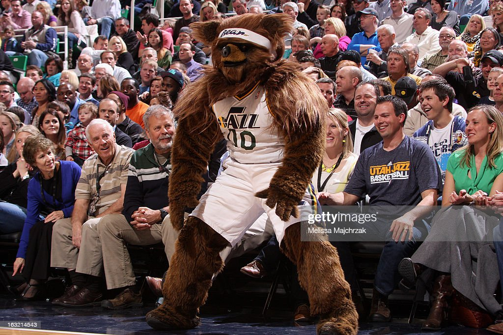 Jazz Bear the mascot of the Utah Jazz gets the crowd pumped up during the game against the Boston Celtics at Energy Solutions Arena on February 25, 2013 in Salt Lake City, Utah.