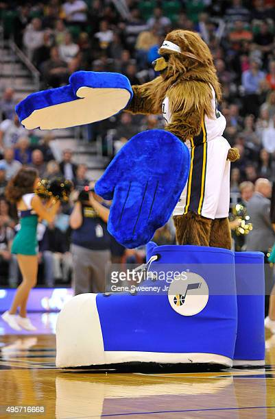 'Jazz Bear' the mascot of the Utah Jazz performs during the game between the Jazz and the Portland Trail Blazers at Vivint Smart Home Arena on...
