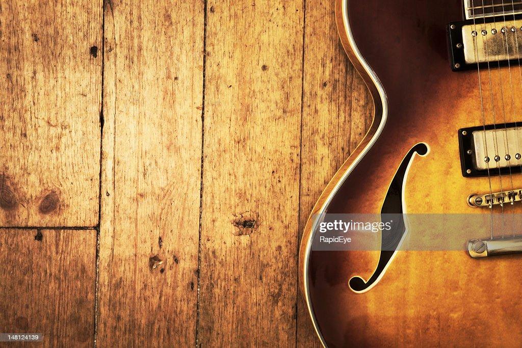 Jazz blues guitar on wood : Stock Photo