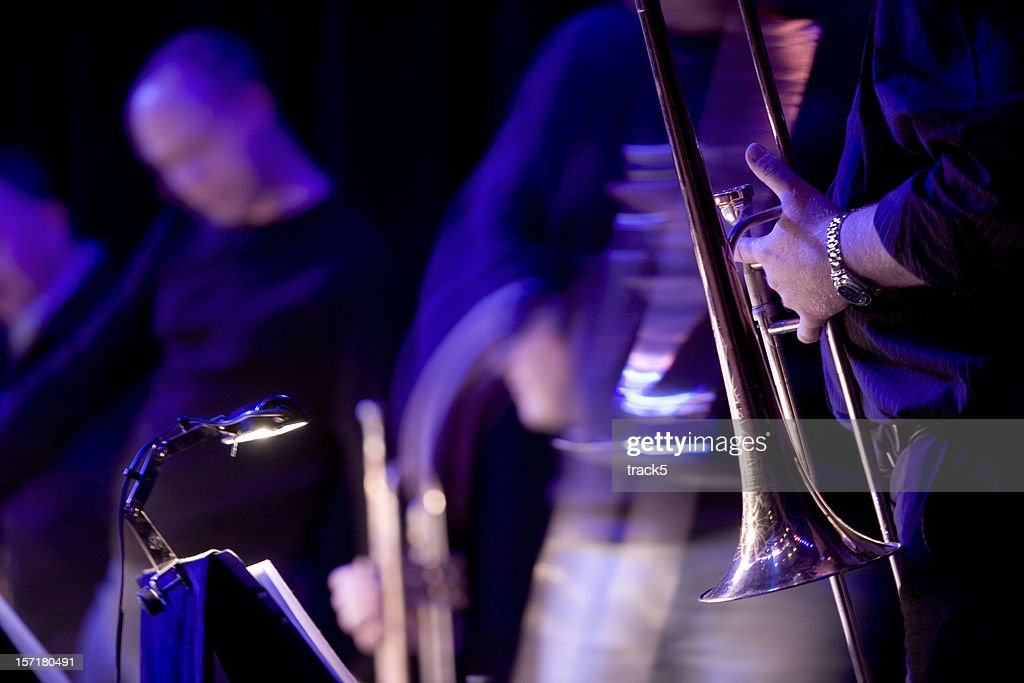 Jazz blues musicians live in performance on stage : Stock Photo