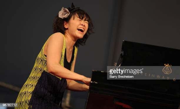 Jazz composer and pianist Hiromi Uehara of the Stanley Clarke Band performs during day 5 of the 41st Annual New Orleans Jazz Heritage Festival at the...