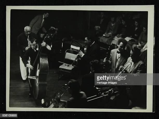 Jazz concert at Colston Hall Bristol 1956 Sidney Bechet on soprano saxophone and Humphrey Lyttelton on trumpet Artist Denis Williams