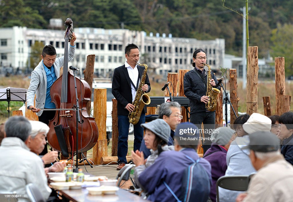 Jazz concert is held to commemorate the victims near Kadonowaki Elementary School on November 11, 2012 in Ishinomaki, Miyagi, Japan. Japan marks 20 months anniversary of the Great East Japan earthquake and following tsunami, occurred on March 11, 2011.