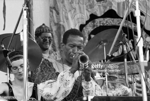 Jazz cornetist and composer Don Cherry performs with his ensemble The Organic Music Theatre at the Newport Jazz Festival New York in July 1973 in New...