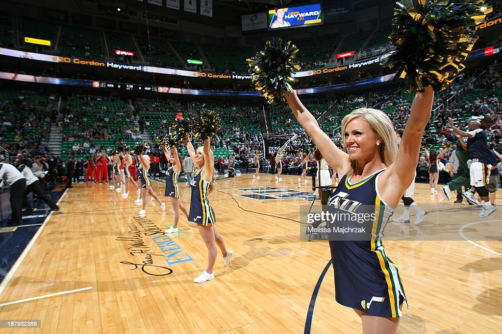 Jazz dancers cheer on the crowd as the Utah Jazz face the New Orleans Pelicans at EnergySolutions Arena on November 13, 2013 in Salt Lake City, Utah.