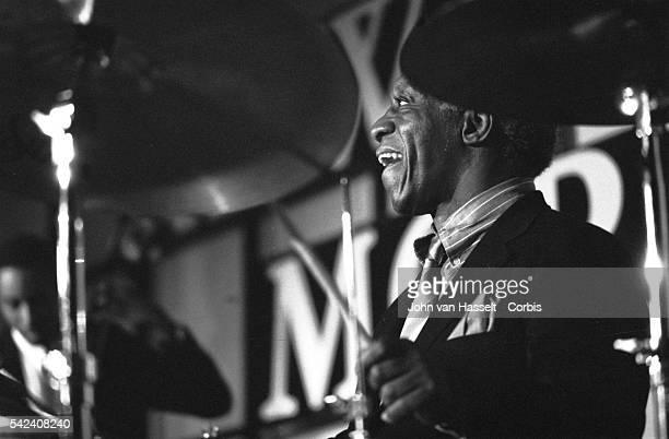 Jazz drummer Art Blakey performs at the New Morning club in Paris France