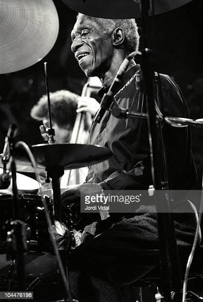 Jazz drummer Art Blakey performs on stage with The Jazz Messengers at Palau de la Musica on November 13 1988 in Barcelona Spain