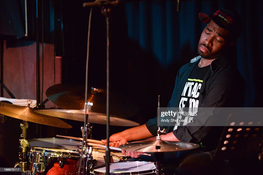 Jazz drummer Eric Harland performs on stage with Zhenya Strigalev at Pizza Express Jazz Club on May 17, 2013 in London, England.