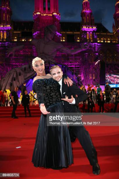 Jazz Gitti and Willi Gabalier arrive for the Life Ball 2017 at City Hall on June 10 2017 in Vienna Austria