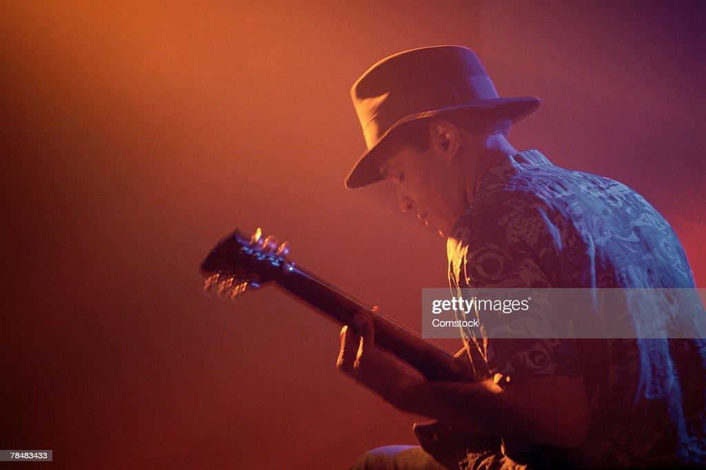 Jazz guitar player performing