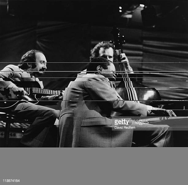 US jazz guitarist Joe Pass Canadian jazz pianist Oscar Peterson and Danish jazz bassist NielsHenning Orsted Pedersen during a live concert...