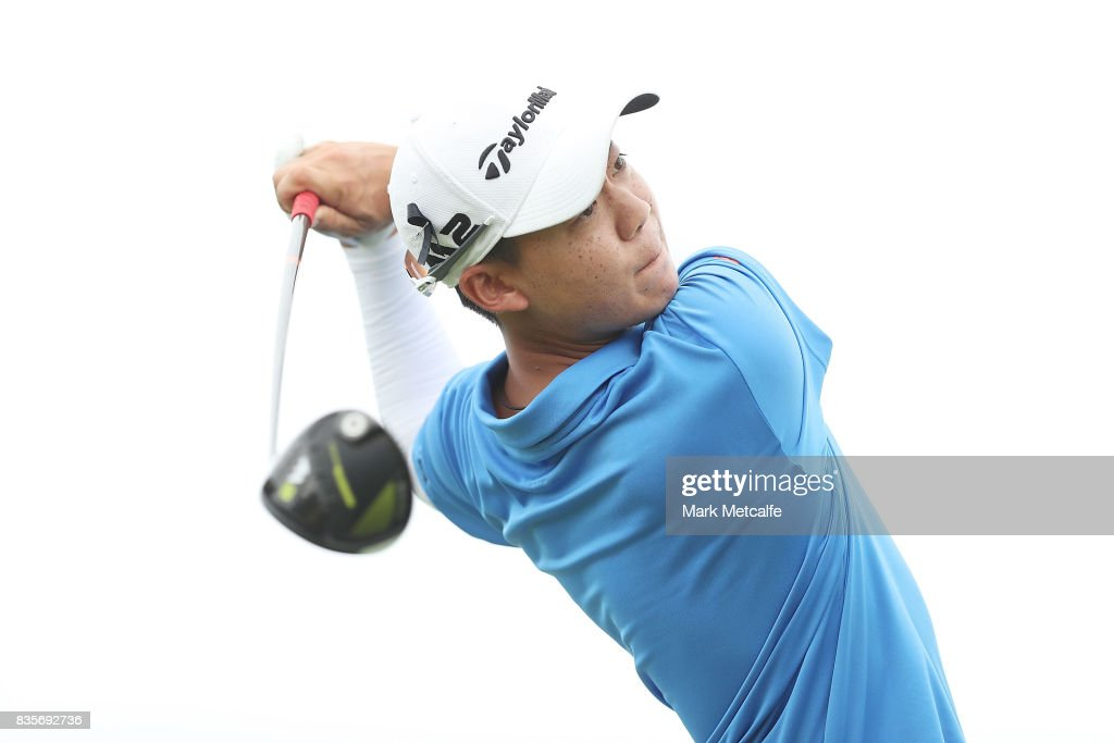 Jazz Janewattananond of Thailand hits his tee shot on the 18th hole during day four of the 2017 Fiji International at Natadola Bay Championship Golf Course on August 20, 2017 in Suva, Fiji.