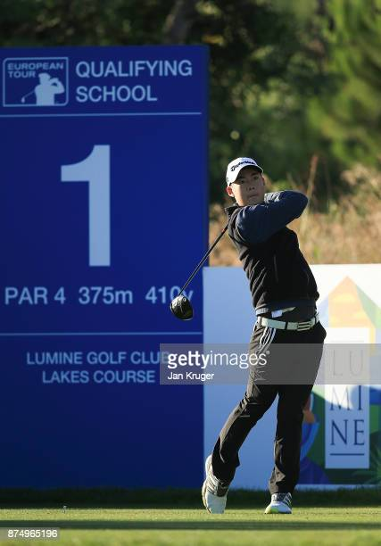 Jazz Janewattananond of Thailand tees off during the final round of the European Tour Qualifying School Final Stage at Lumine Golf Club on November...