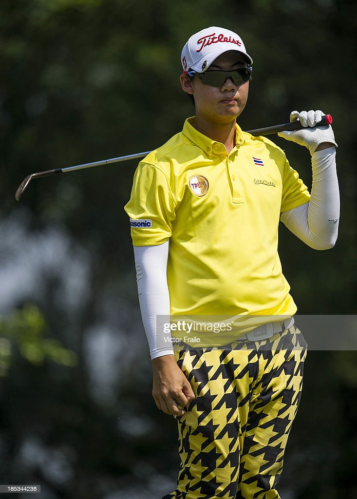 Jazz Janewattananond of Thailand tees off on the 6th hole during day three of the Venetian Macau Open at Macau Golf and Country Club on October 19, 2013 in Macau, Macau.