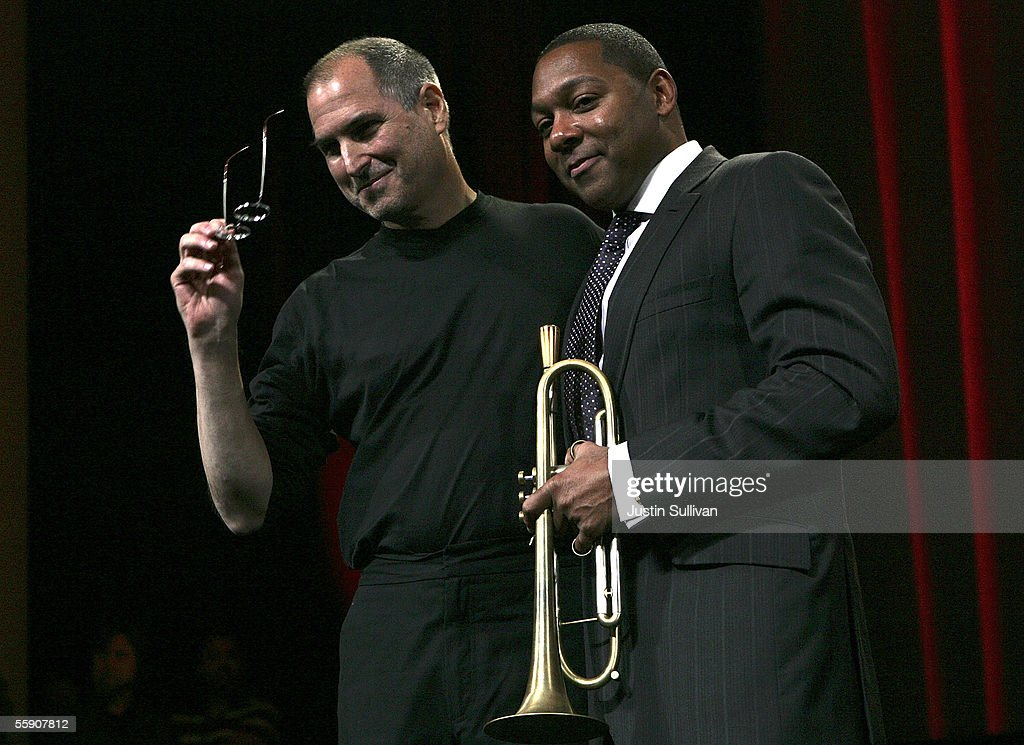 Jazz legend Winton Marsalis (R) poses with Apple CEO Steve Jobs during a special event announcing new Apple products October 12, 2005 in San Jose, California. Apple CEO Steve Jobs announced a new iPod that plays video, a new iMac and new version of iTunes that allows people to purchase videos and television shows.