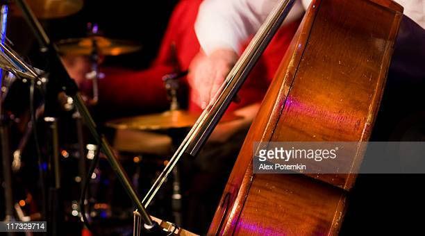 Jazz: live sound on concert. Contrabass.