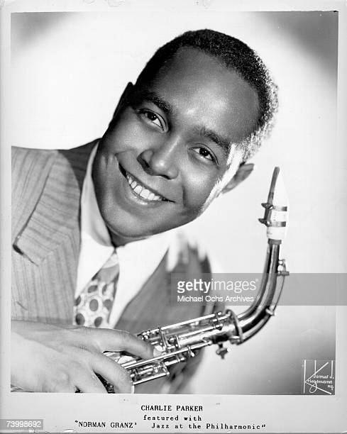 Jazz musician Charlie Parker poses for a portrait in the studio in 1945 in New York New York This image was retouched by the photographer James...