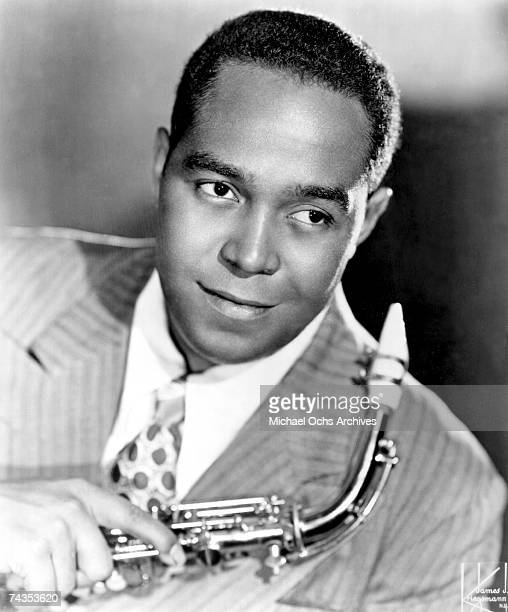 Jazz Musician Charlie Parker poses with his saxophone in the Kriegsmann Studios in New York New York circa 1946