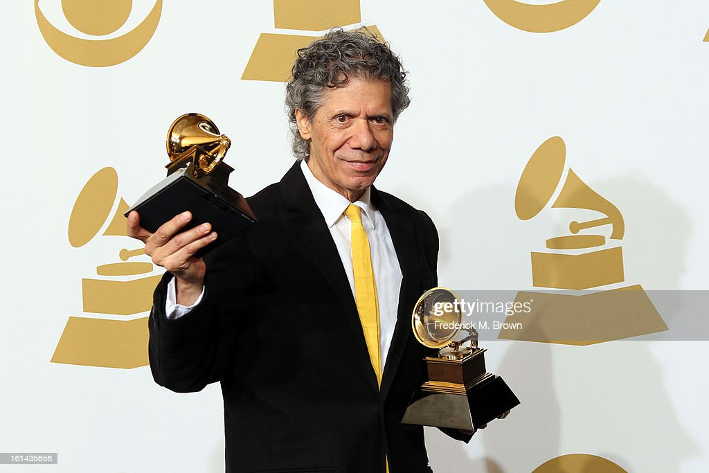 Jazz musician Chick Corea, winner of Best Improvised Jazz Solo for 'Hot House' and Best Instrumental Composition for 'Mozart Goes Dancing, poses in the press room at the 55th Annual GRAMMY Awards at Staples Center on February 10, 2013 in Los Angeles, California.
