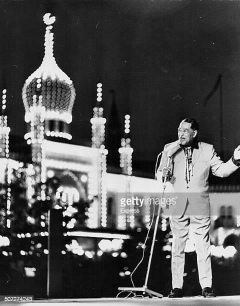 Jazz musician Duke Ellington performing on stage at Tivoli Gardens Copenhagen Denmark July 22nd 1970