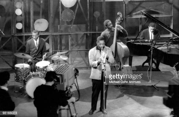 Jazz musician John Coltrane and his band perform live on a show broadcast from a TV station in BadenBaden in 1961 in West Germany