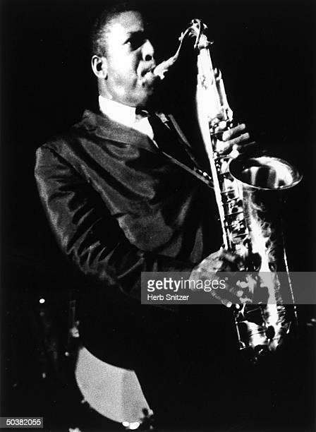 Jazz musician John Coltrane playing saxophone