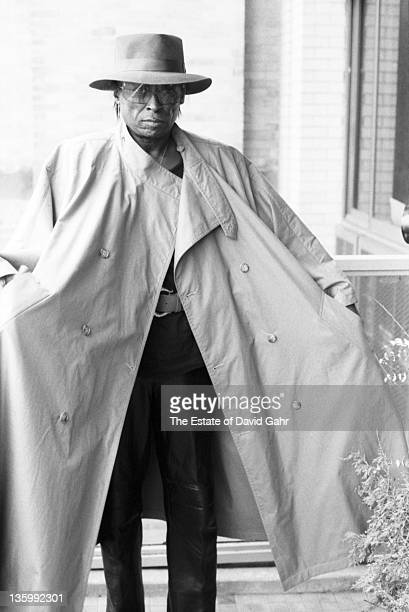 Jazz musician Miles Davis poses for a portrait at home on April 15 1984 in New York City New York
