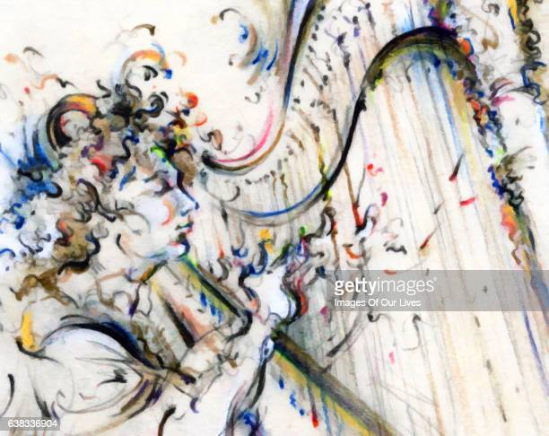 Jazz Musician Playing Music on Instrument Painting Drawing Art