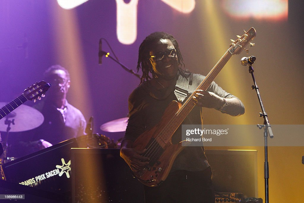 Jazz musician <a gi-track='captionPersonalityLinkClicked' href=/galleries/search?phrase=Richard+Bona&family=editorial&specificpeople=2312158 ng-click='$event.stopPropagation()'>Richard Bona</a> performs onstage before he receives the 'Grand Prix du Jazz' during the 'Grand Prix SACEM 2012' at Casino de Paris on November 26, 2012 in Paris, France.