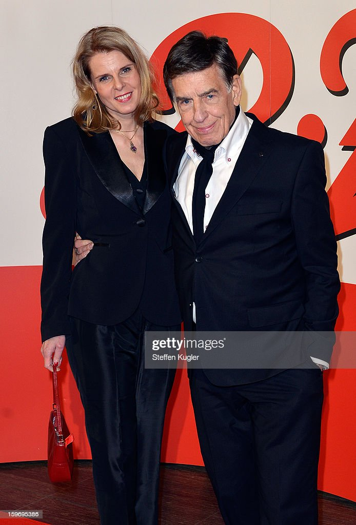Jazz Musician Rolf Kuehn and his wife Melanie pose on the red carpet as he arrives for the B.Z. Kulturpreis on January 18, 2013 in Berlin, Germany.