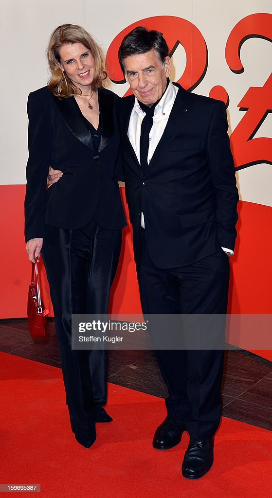 Jazz Musician Rolf Kuehn and his wife Melanie pose on the red carpet as they arrive for the B.Z. Kulturpreis on January 18, 2013 in Berlin, Germany.