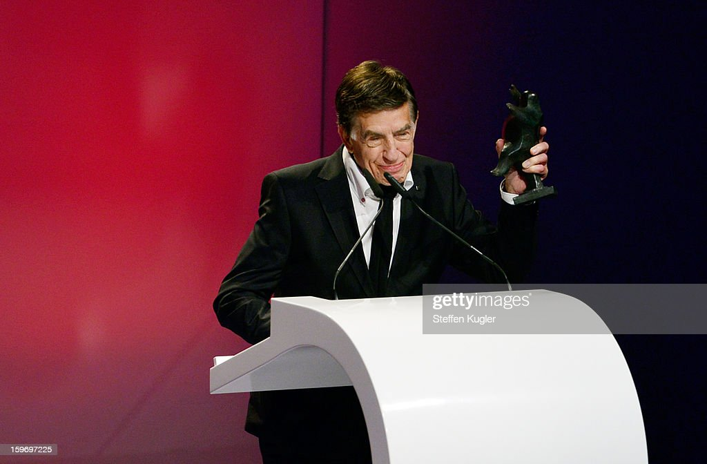 Jazz musician Rolf Kuehn makes a speech after receiving his award at the B.Z. Kulturpreis on January 18, 2013 in Berlin, Germany.