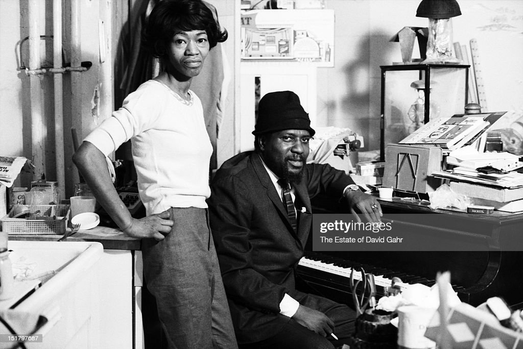 Jazz musician Thelonious Monk and his wife Nellie Monk pose for a portrait at home in November, 1963 in New York City, New York.